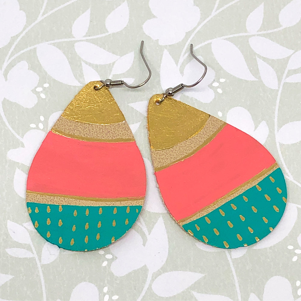 Hand Painted Earrings - Gold, Coral And Turquoise