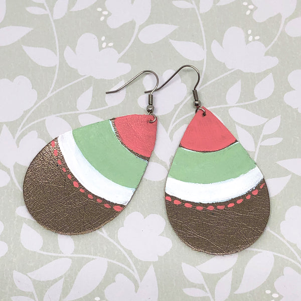 Hand Painted Earrings - Coral, Mint and Pewter