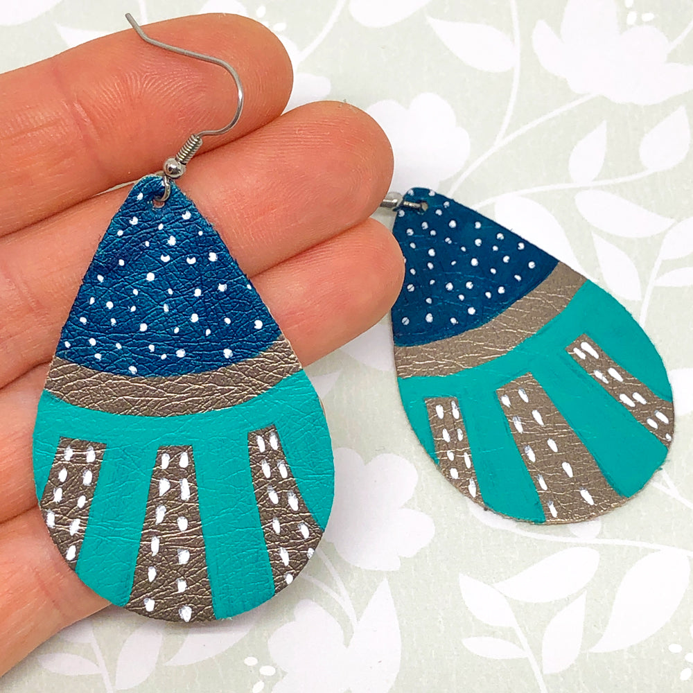 Hand Painted Earrings - Blue, Turquoise and Pewter