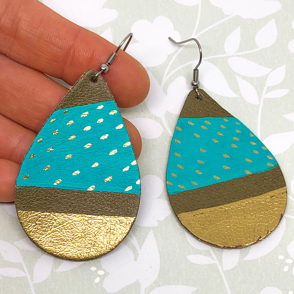 Hand Painted Earrings - Turquoise and Gold