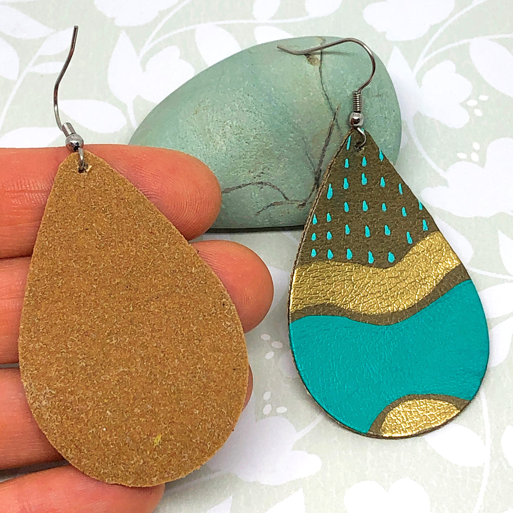 Hand Painted Earrings - Turquoise, Brown and Gold