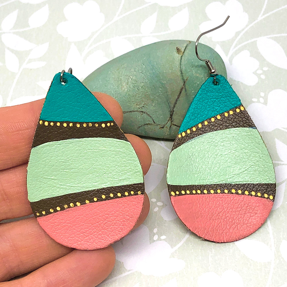 Hand Painted Earrings - Turquoise, Mint and Coral