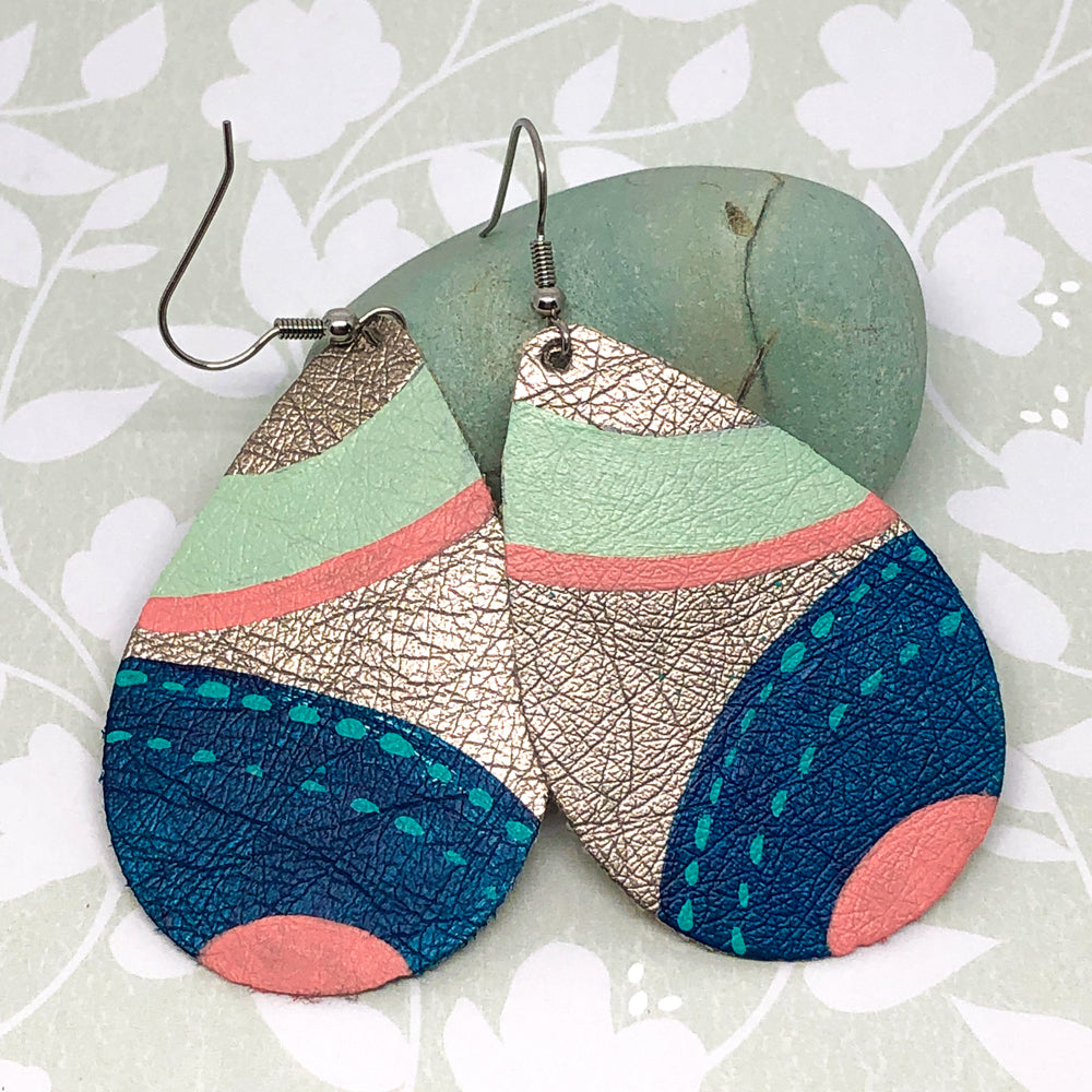 Hand Painted Earrings - Mint, Coral, Blue