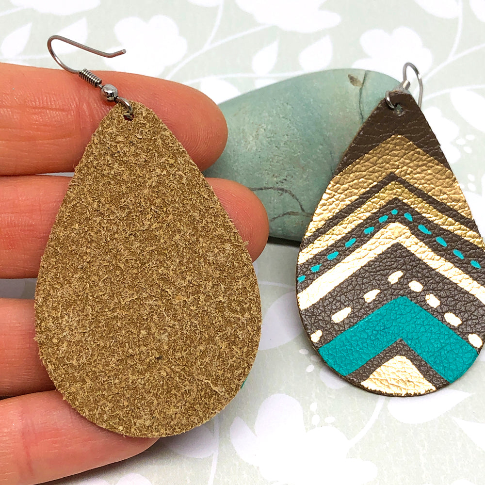 Hand Painted Earrings - Gold, Brown, Turquoise