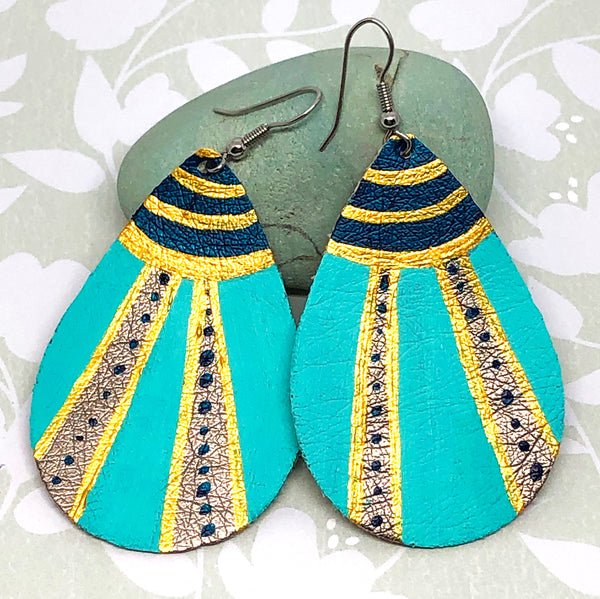 Hand Painted Earrings - Blue, Gold, Turquoise