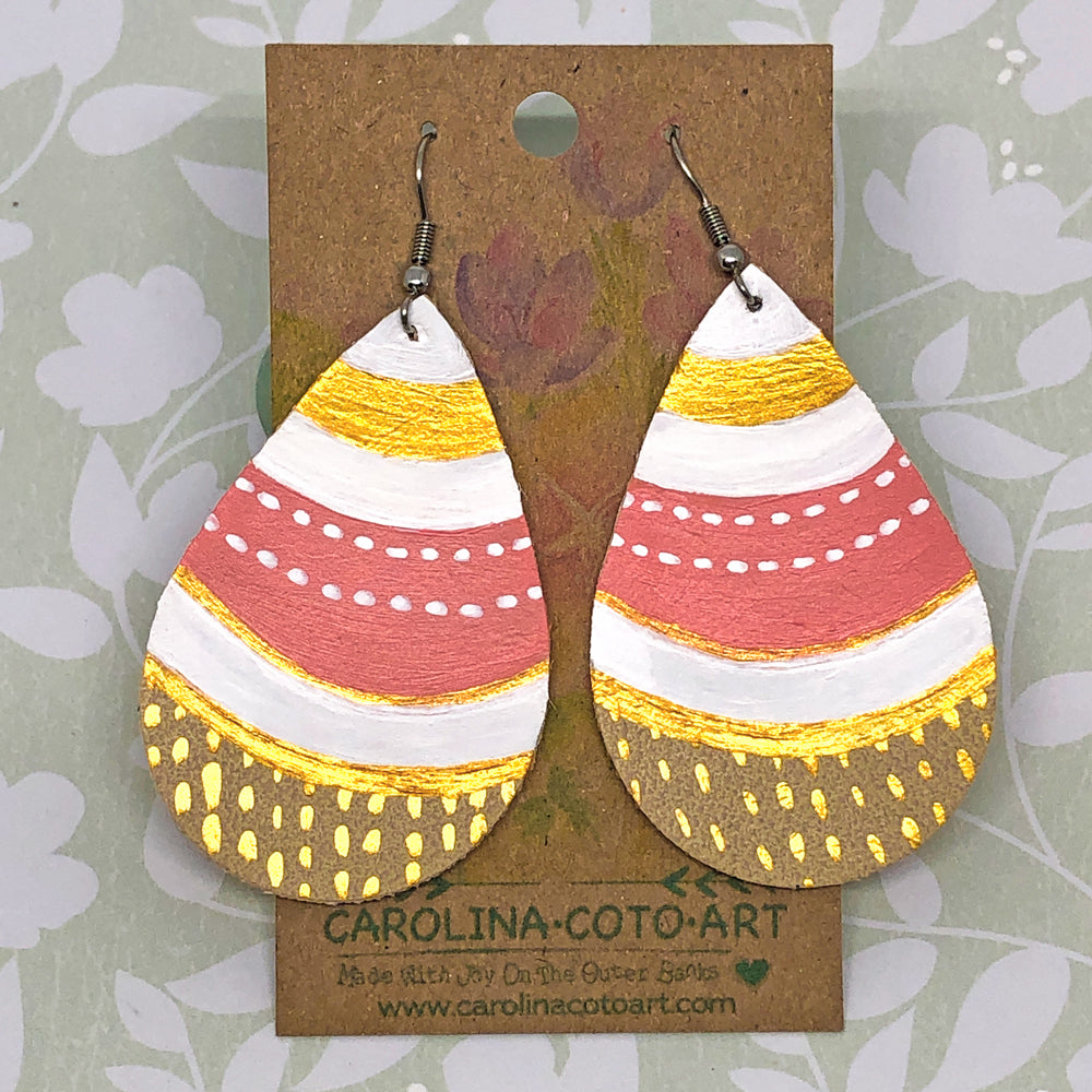 Hand Painted Earrings - White, Coral, Gold