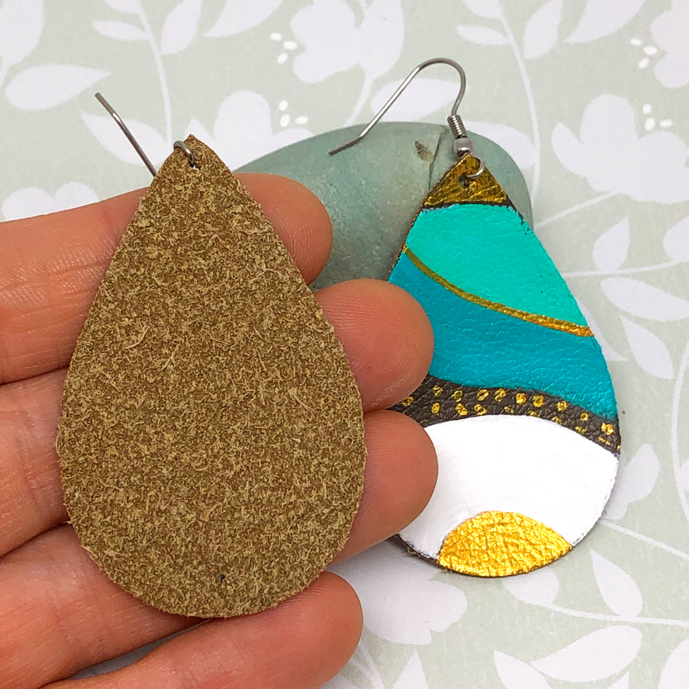 Hand Painted Earrings - Turquoise, White, Gold
