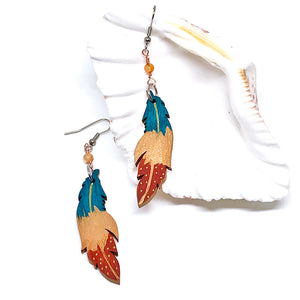 Teal, Bronze and Terracota - Hand Painted Wood Feather Earrings