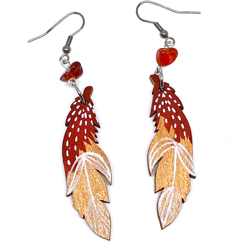 Terracota, Bronze and White Line Work - Hand Painted Wood Feather Earrings