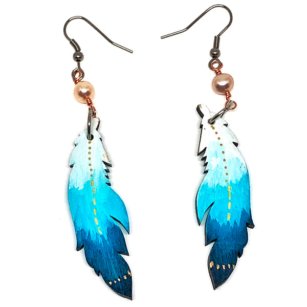 White and Teal Ombre - Hand Painted Wood Feather Earrings