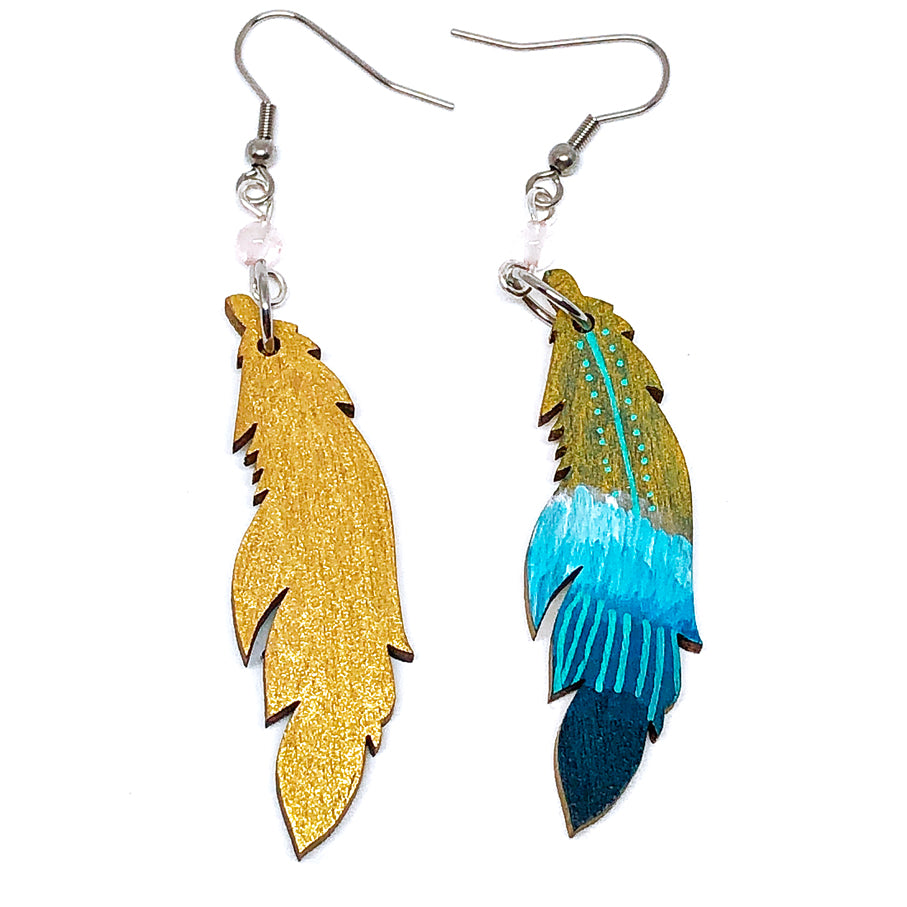 Gold and Teal Ombre - Hand Painted Wood Feather Earrings