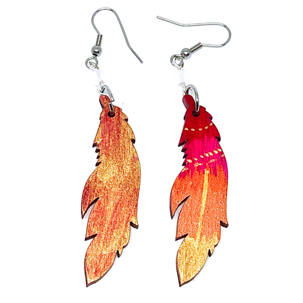 Magenta, Copper and Bronze - Hand Painted Wood Feather Earrings