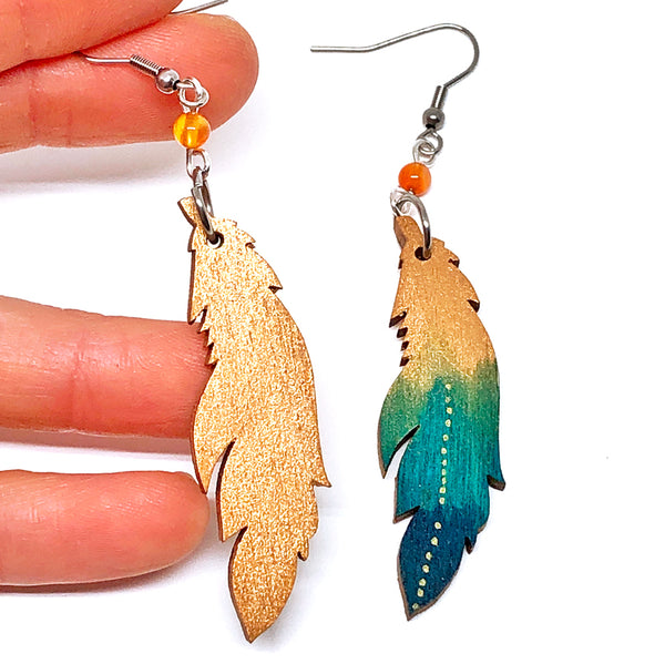 Bronze and Turquoise Ombre - Hand Painted Wood Feather Earrings