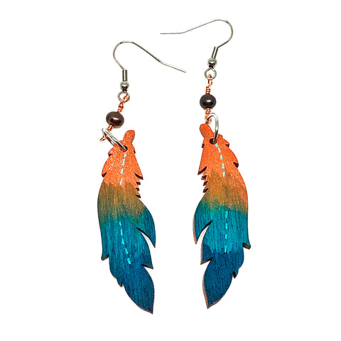 Copper and Turquoise Ombre - Hand Painted Wood Feather Earrings