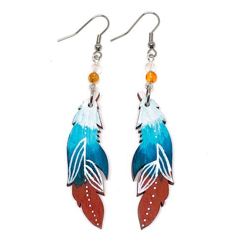 Teal Ombre, Terracota and White Line Work - Hand Painted Wood Feather Earrings
