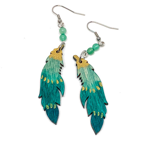 Emerald Ombre and Gold - Hand Painted Wood Feather Earrings