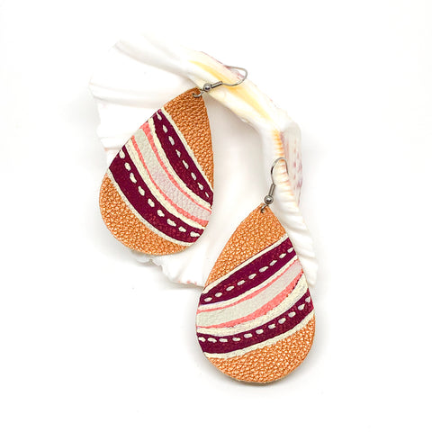 Hand Painted Earrings - Burgundy Stripes