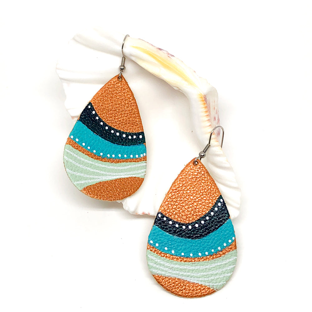 Hand Painted Earrings - Abstract Seascape II