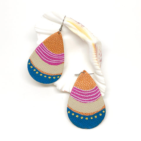 Hand Painted Earrings - Pink, Blue and Cream