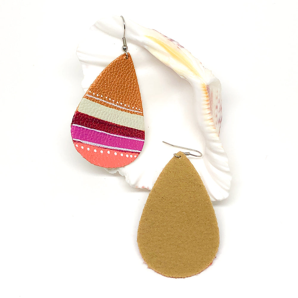 Hand Painted Earrings - Magenta and Peach Stripes