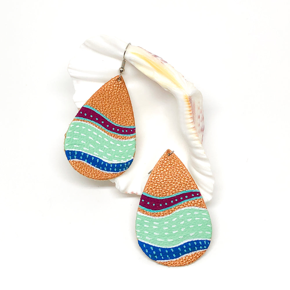 Hand Painted Earrings - Multicolor Abstract Seascape
