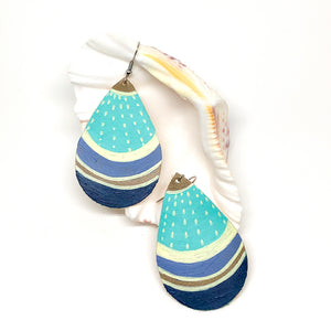 Hand Painted Earrings - Turquoise, Cream and Blues