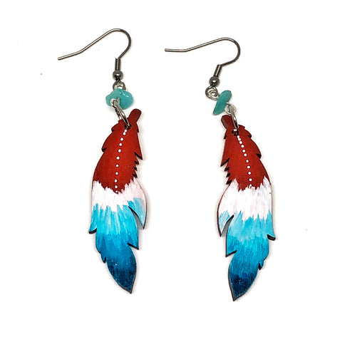 Terracota and Teal Ombre - Hand Painted Wood Feather Earrings