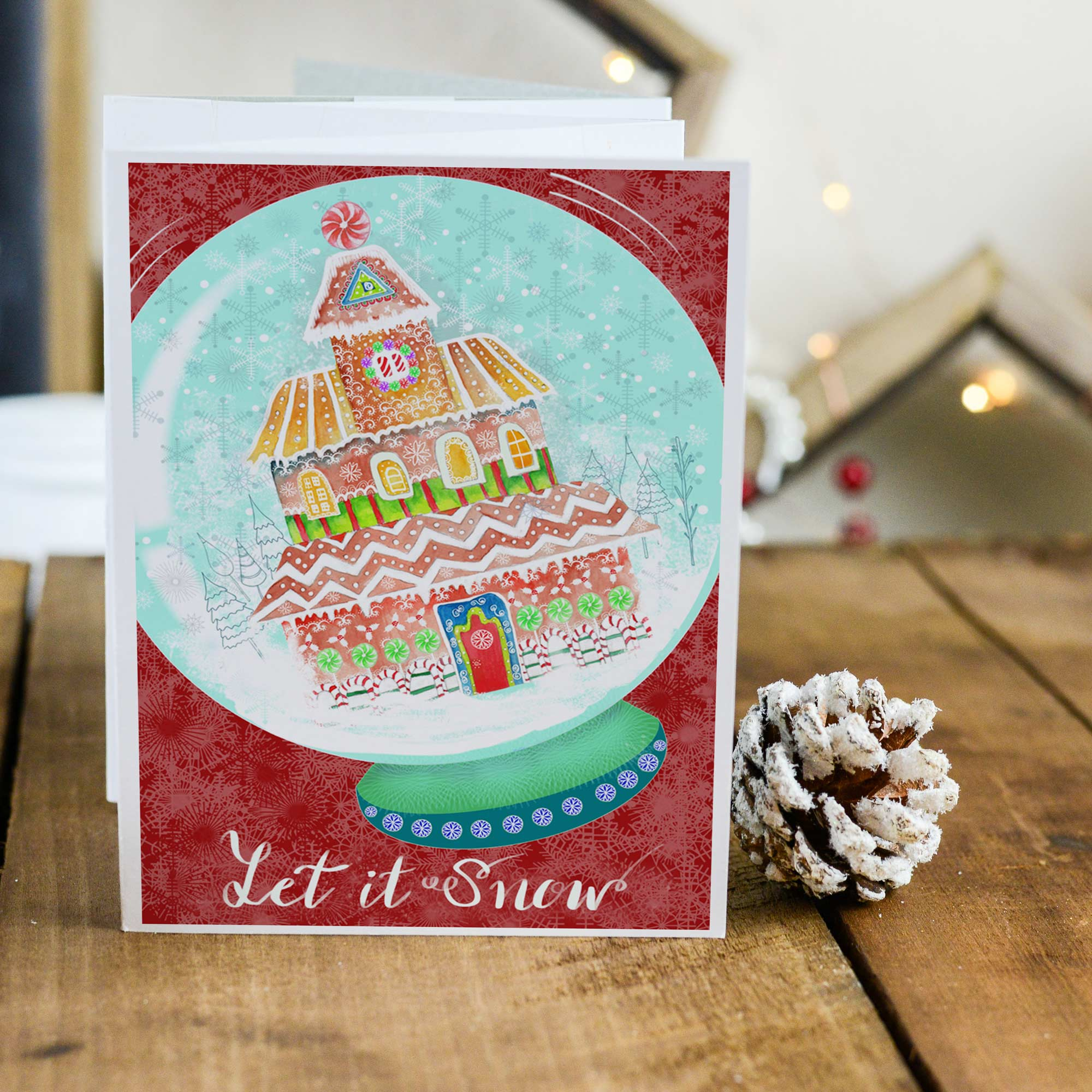 Let it Snow Red - 5x7 Notecard