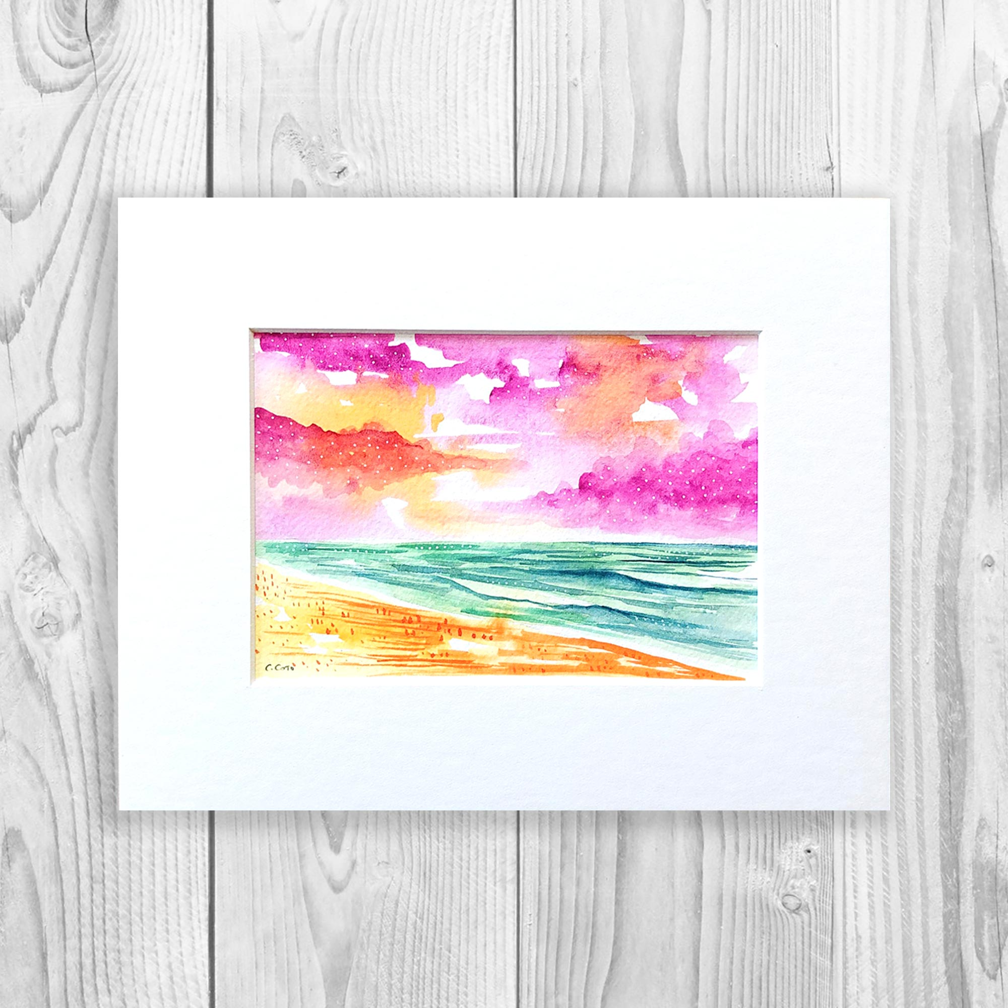 Lively Seascape - Unframed, Matted to Standard Frame Size