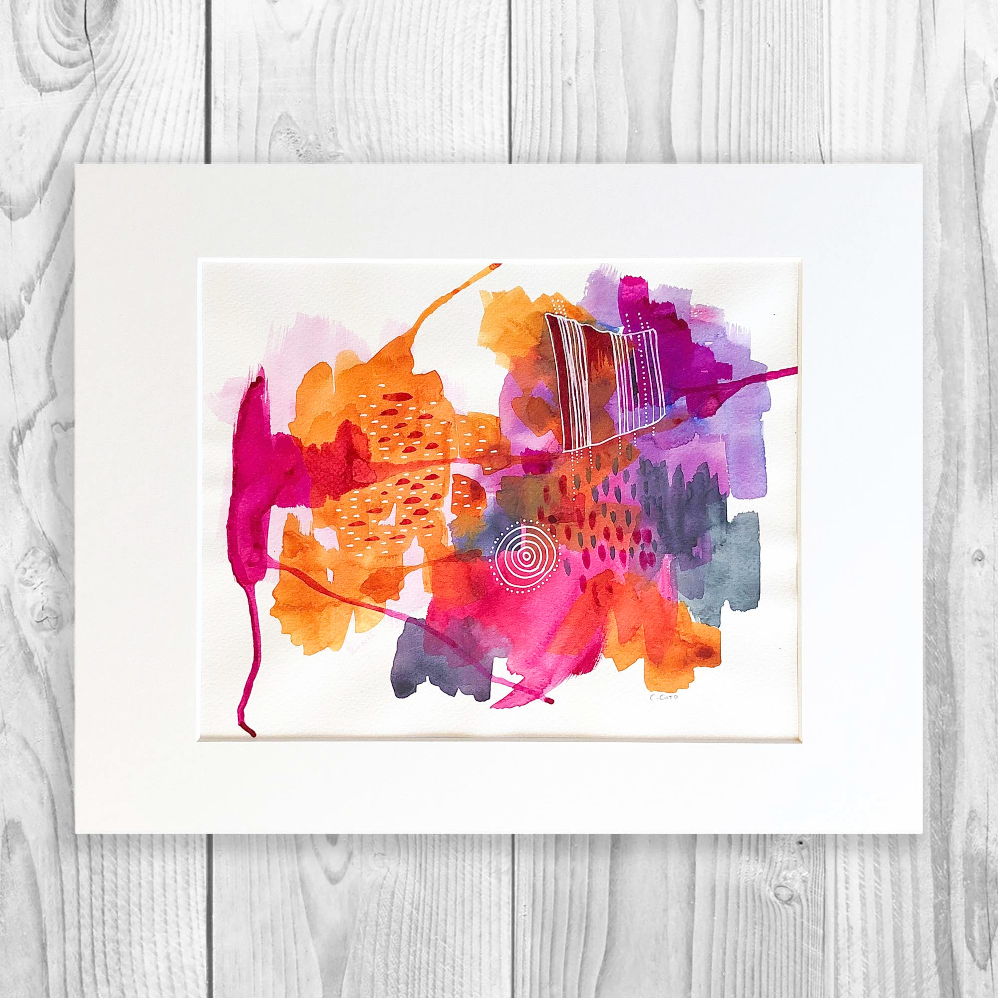 Magenta Abstract - Unframed, Matted to Standard Frame Size