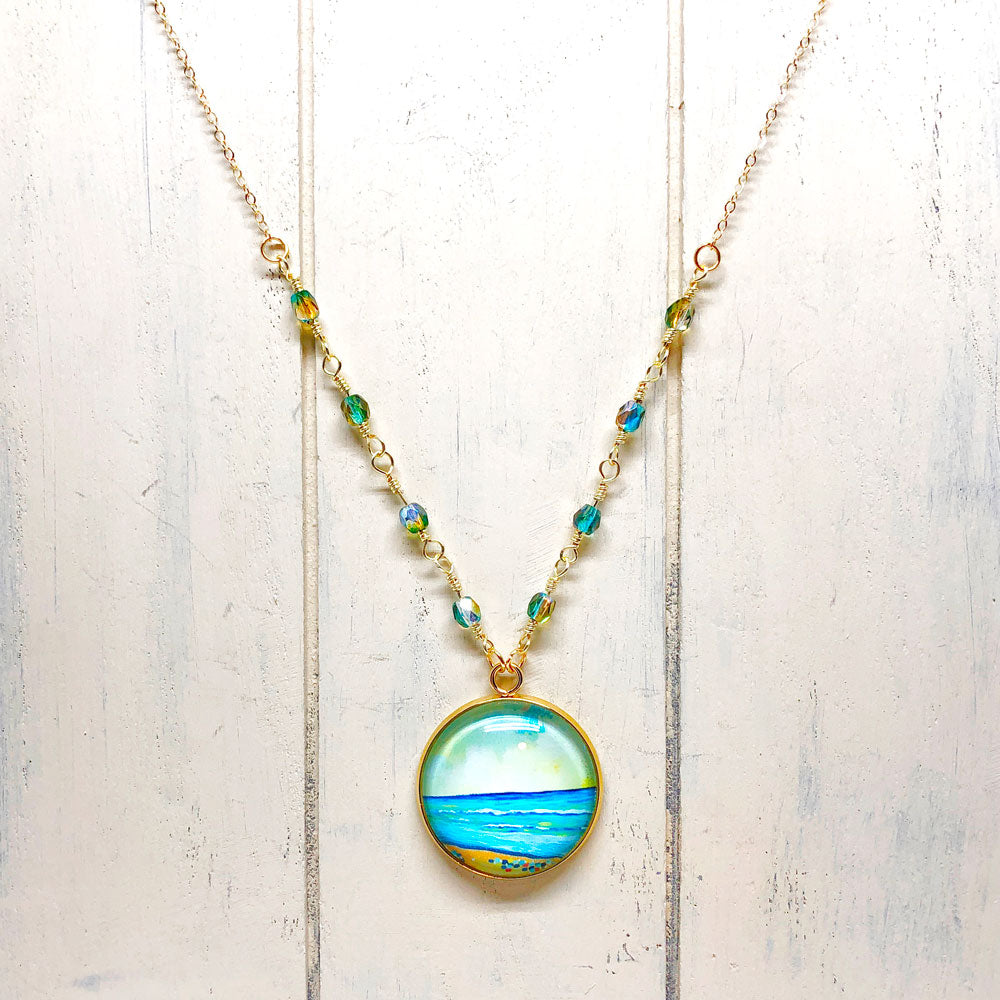 Abstract Seas II - Gemstones and Wirework Necklace