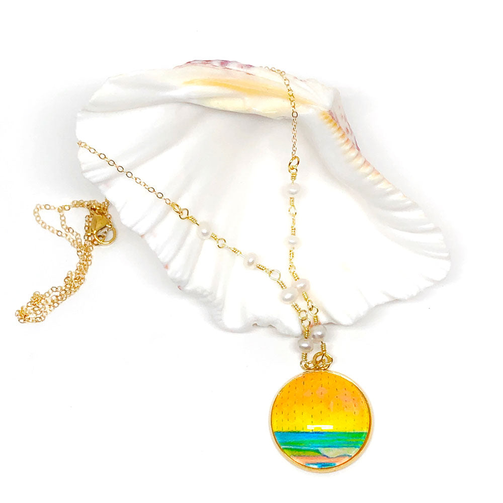 Pastel Seascape III - Gemstones and Wirework Necklace