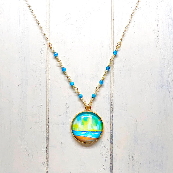 Simple Seascape XII - Gemstones and Wirework Necklace