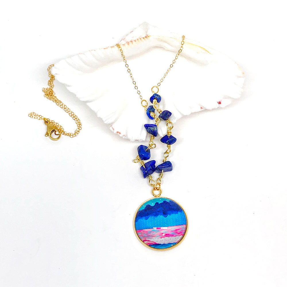 Simple Seascape XVI - Gemstones and Wirework Necklace