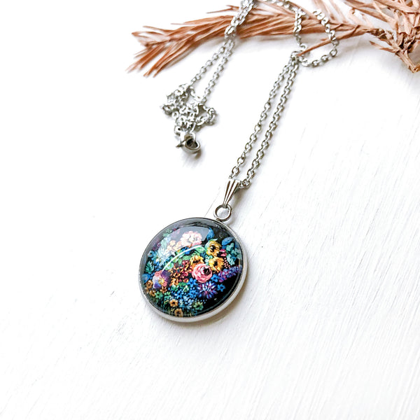 Night Floral - Stainless Steel Necklace
