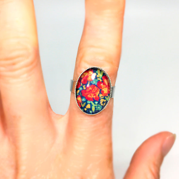"""Oil Floral"" - Adjustable Oval Ring"