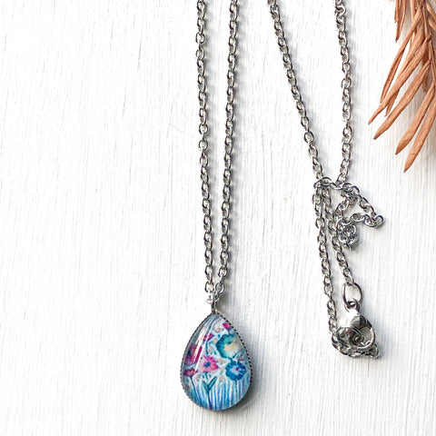 Pastel Floral III - Stainless Steel Teardrop Necklace or Set