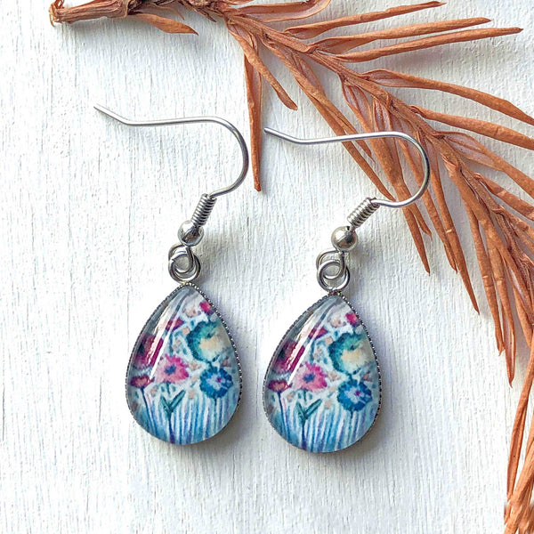 Pastel Floral III - Stainless Steel Earrings