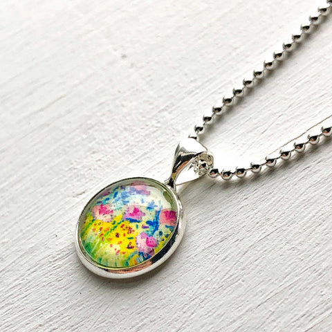 Pastel Floral - Small Round Necklace