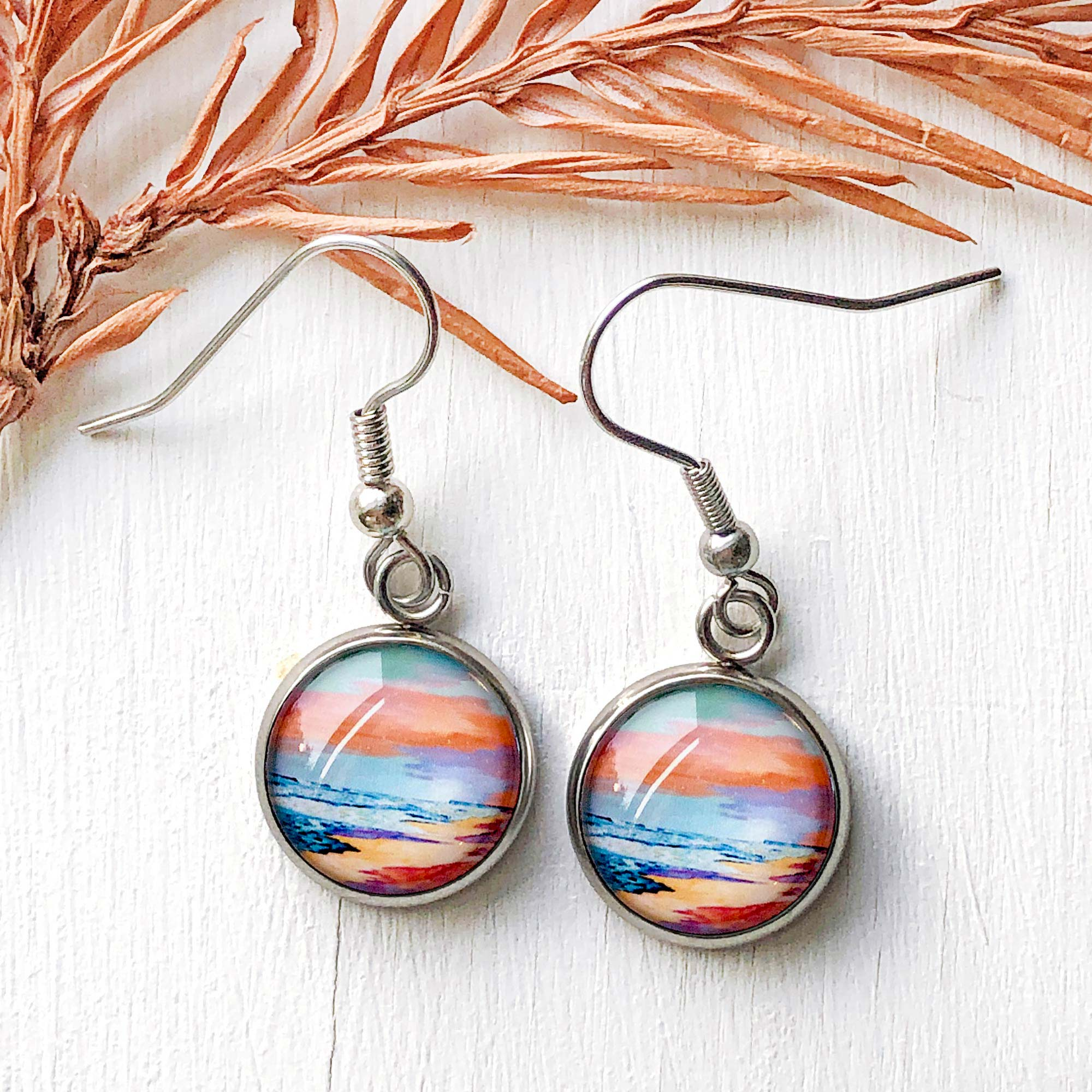 Peaceful Seascape I - Dangle, Stud or Leverback Earrings