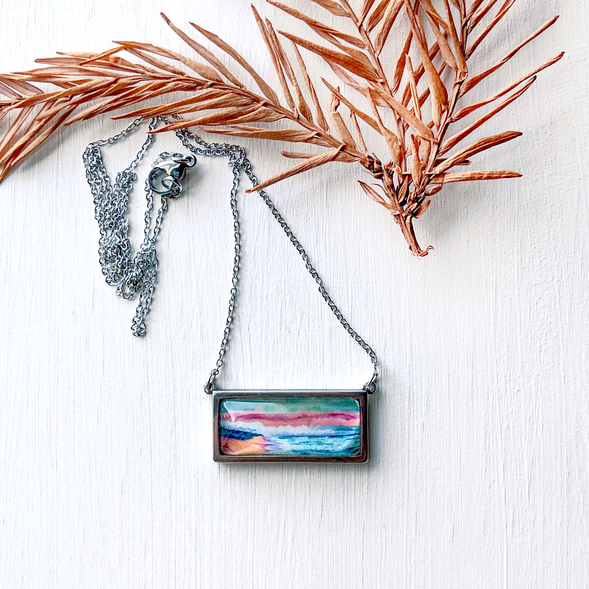 Peaceful Seascape II - Bar Necklace
