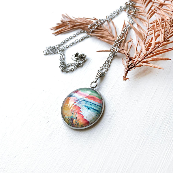 Peaceful Seascape II - Stainless Steel Necklace
