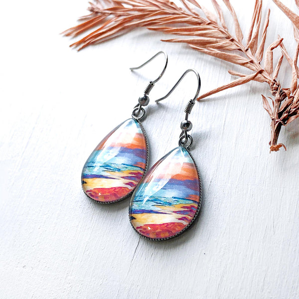 Peaceful Seascape - Stainless Steel Earrings