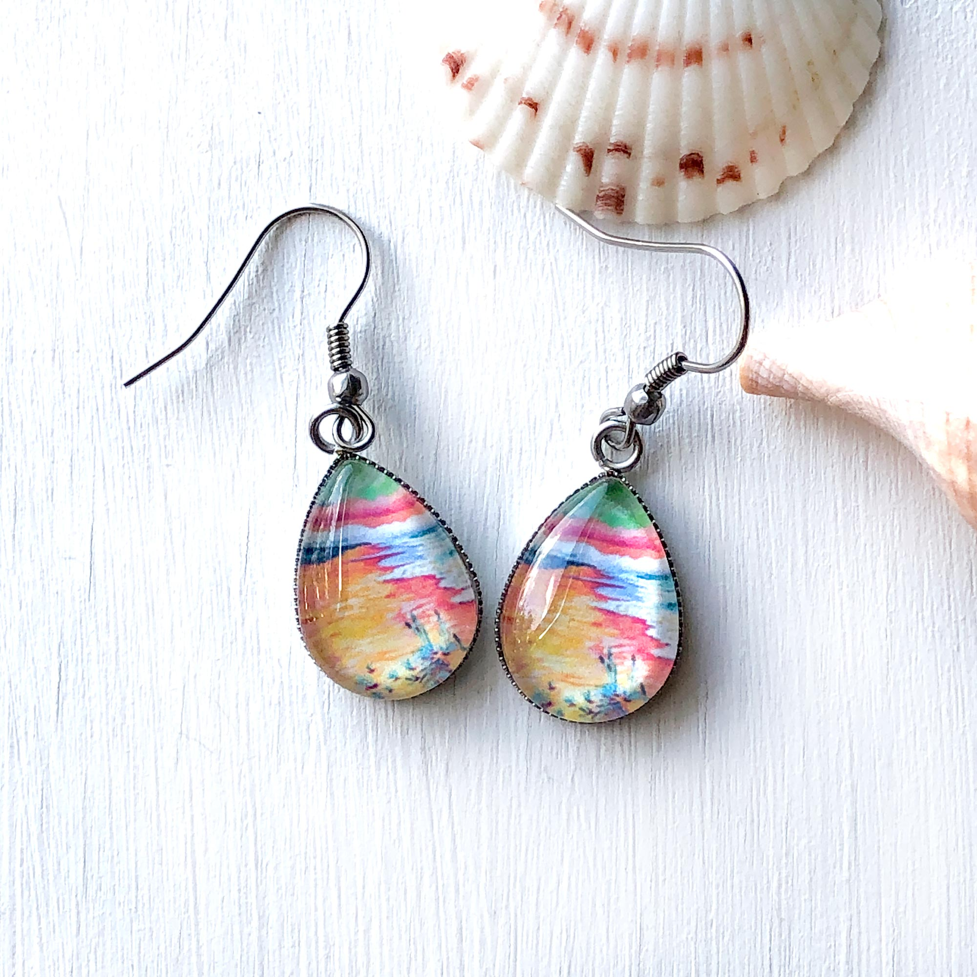 Peaceful Seascape II - Stainless Steel Earrings