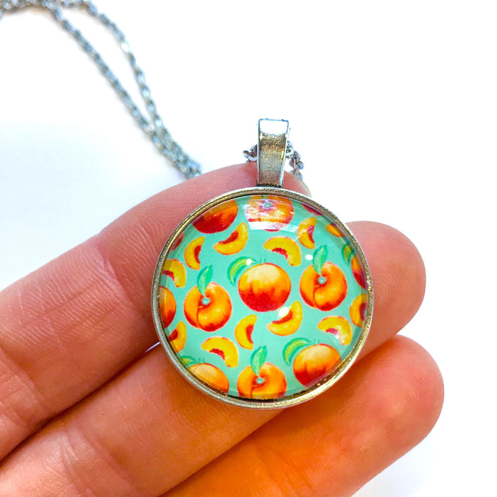 Peaches Pattern - Small Round Necklace