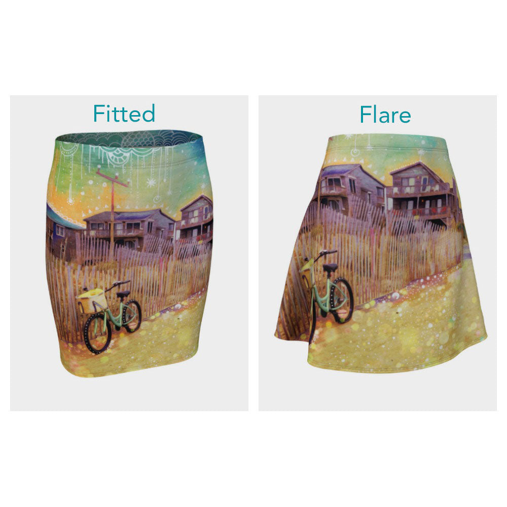 Beach Cruiser and Stars Skirt (Fitted or Flare)