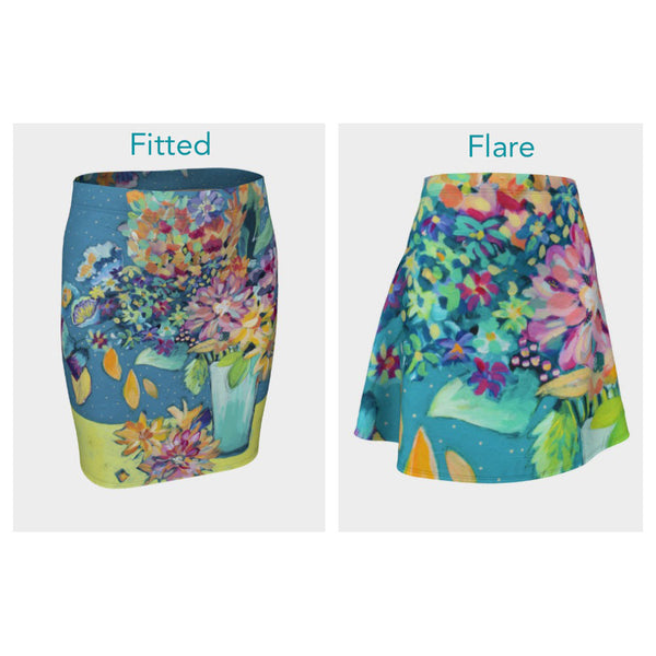 Bold Flowers Skirt (Fitted or Flare)