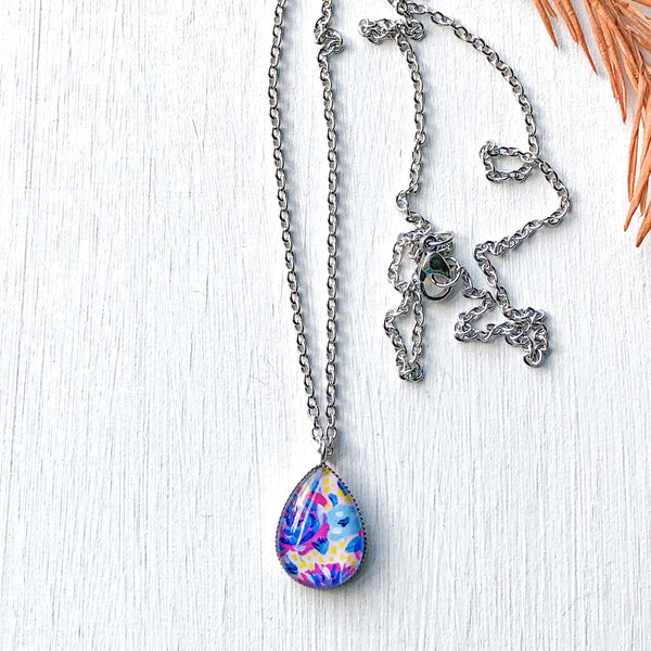 Pink and Blue Floral - Stainless Steel Teardrop Necklace or Set