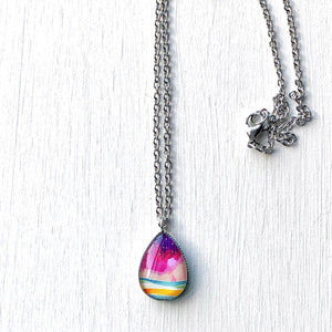 Purple Rain - Stainless Steel Teardrop Necklace or Set