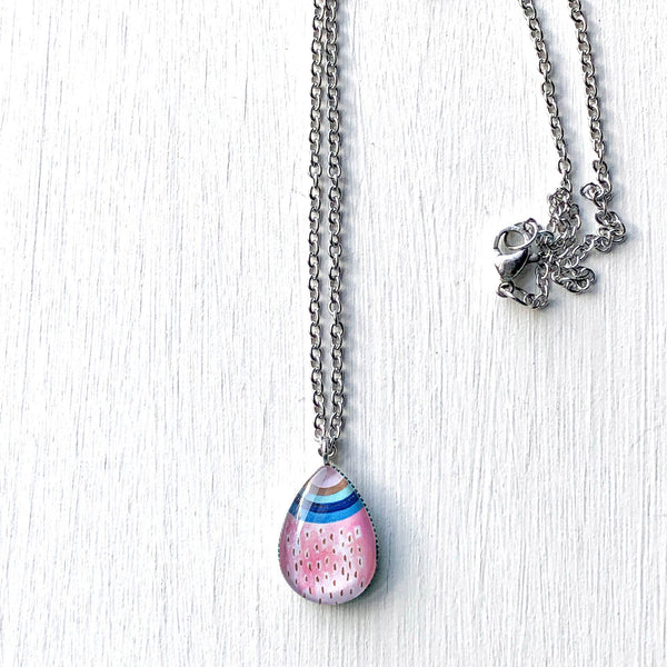 Rainbow - Stainless Steel Teardrop Necklace or Set
